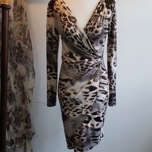 Cache Leopard Print Black Silver Dress
